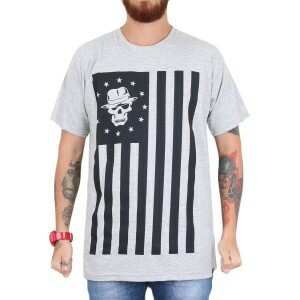 Camiseta KAOS Rebel Flag Cinza