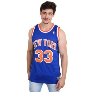 Camiseta Adidas Regata Retired New York Knicks Patrick Ewing Royal/Orange