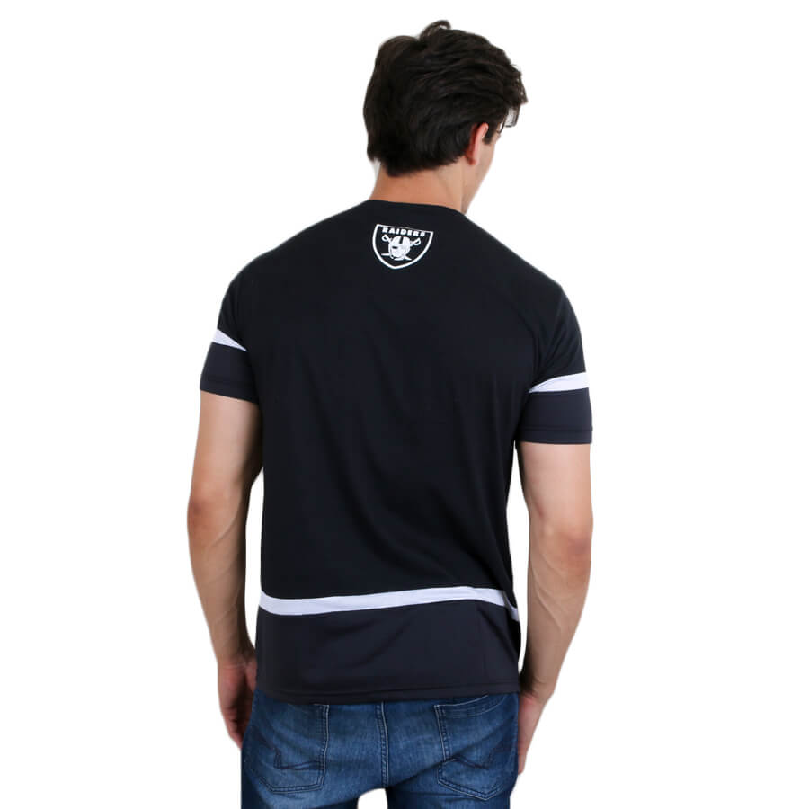 Camiseta New Era Oakland Raiders Mesh Stripe Preto