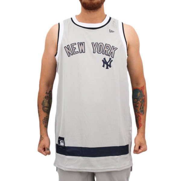 Camiseta New Era Regata New York Yankees Basketball Stripes Grey