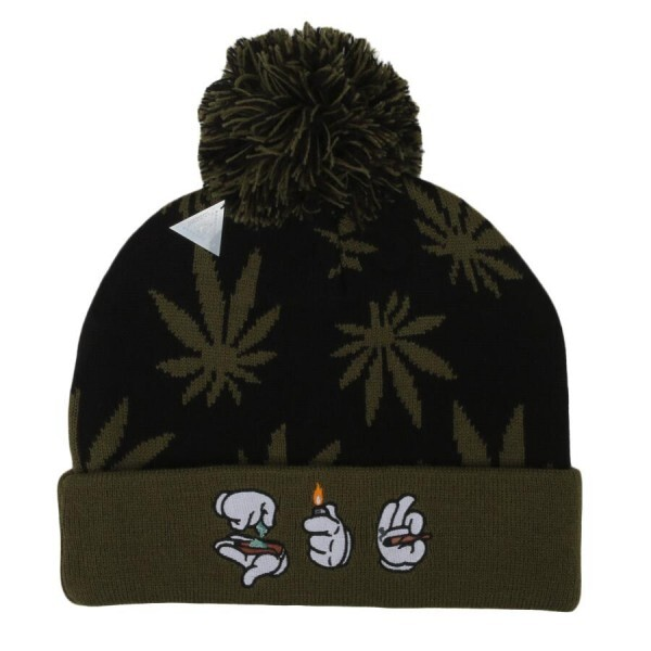 Gorro Cayler and Sons Roll Light Smoke Pom Pom Beanie Preto/Verde/Branco