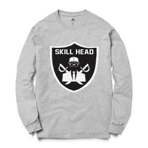 Moletom Skill Head Gola Careca Escudo Raiders Cinza