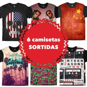 KIT COM 6 CAMISETAS SORTIDAS - TOP MARCAS
