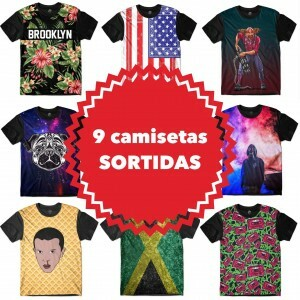 KIT COM 9 CAMISETAS SORTIDAS - TOP MARCAS