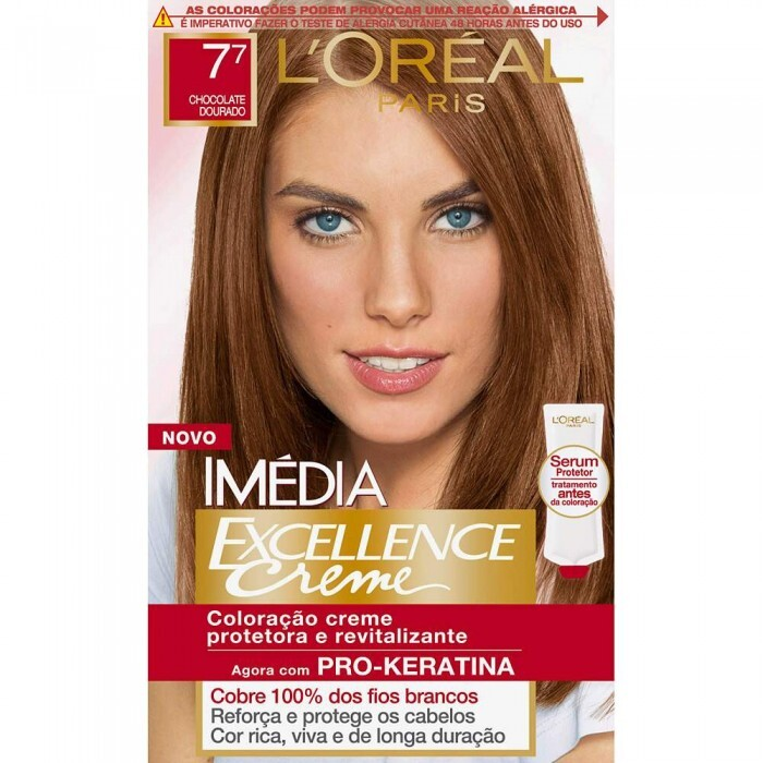 Tintura LOreal Paris Imédia Excellence 7.7 Chocolate Dourado