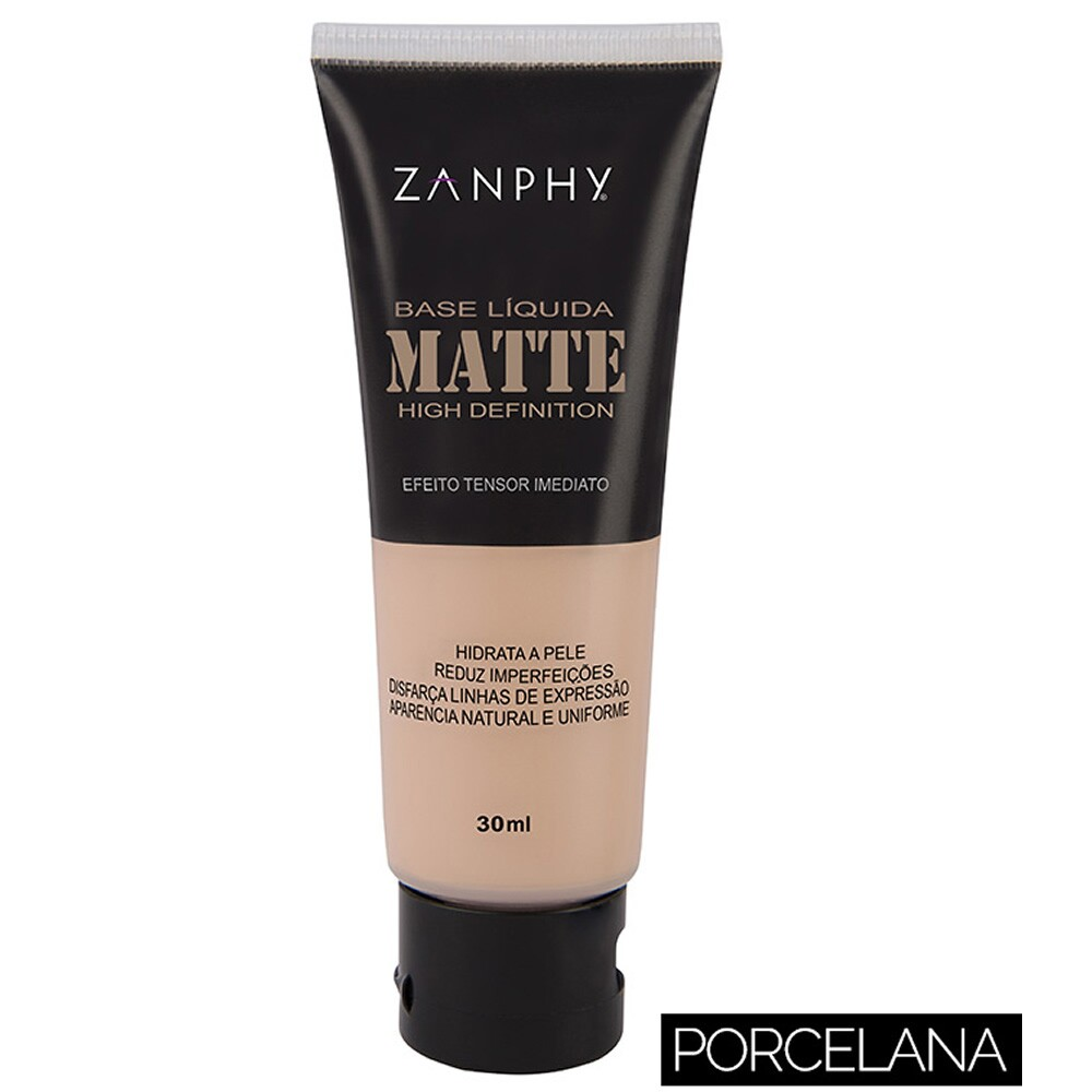 Base Líquida Matte Zanphy High Definition Efeito Tensor Imediato - 30ml
