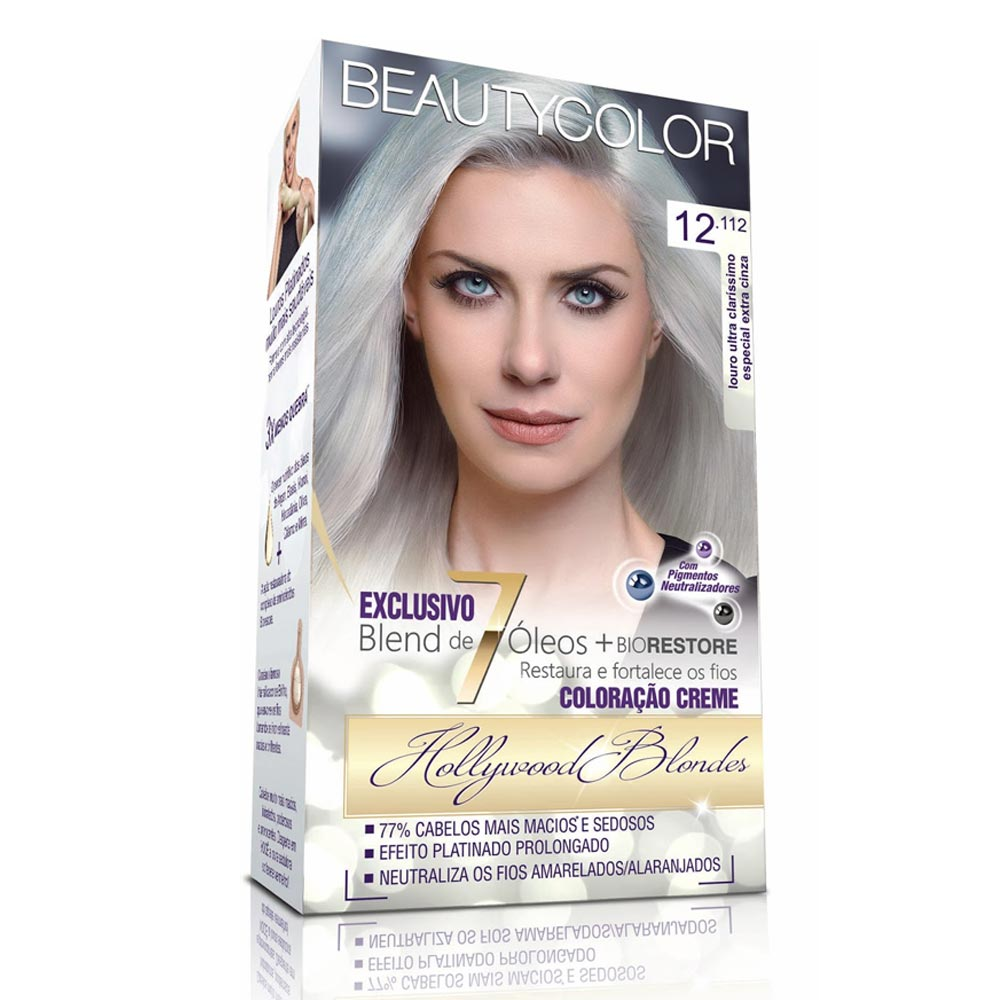 Tintura Beauty Color Kit 12.112 Louro Ultra Claríssimo Especial Extra Cinza