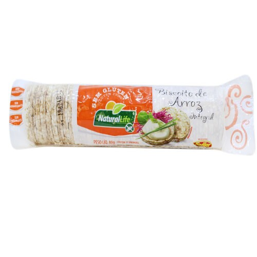 Biscoito de Arroz Integral Natural Life 80g