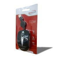Mouse Óptico USB Mini Retrátil MO306 Soft Preto New Link