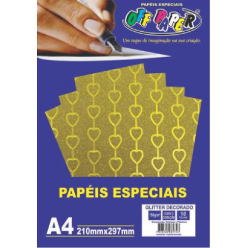 PAPEL GLITTER OURO - CORACAO A4 150G 10 FLS