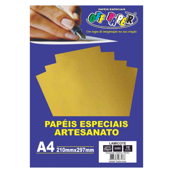 Papel Lamicote Ouro A4 250G 10 Fls - Off Paper