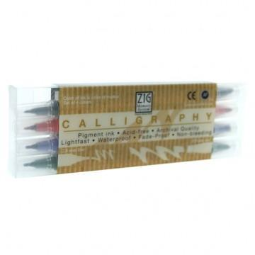 Kit Canetas Zig Memory System Calligraphy Earth Colors com 04 Unidades