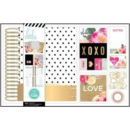 Kit Planner Large Spiral Heidi Swapp - Gold Dots