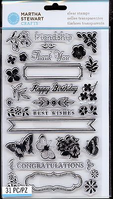 Carimbos - Frame Border Punch Birthday/ Flowers/ Butterfly - Martha Stewart