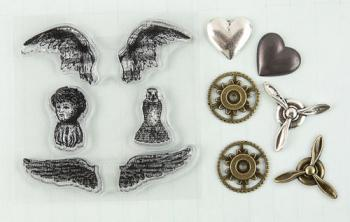 Carimbos de Silicone + Apliques em Metal - Stamp-n-Add Angel Wings - Prima Marketing