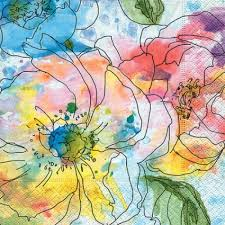Guardanapo Decoupage c/ 2 unidades 33x33cm - Watercolour Blooms