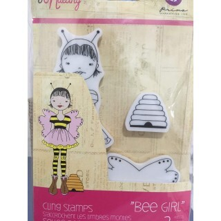 Carimbo Bee Girl - Cling Stamps - Prima Marketing