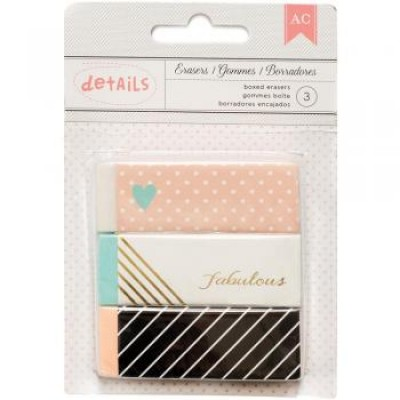 Kit Borrachas Decoradas - Boxed Erasers c/ 3 unidades - American Crafts