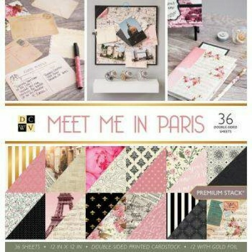 Kit de Papéis Meet Me in Paris c/ 36 unidades 30,5x30,5