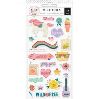 Cartela de Adesivos em Relevo - Wild Child Puffy Stickers Girl