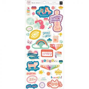 Cartela de Adesivos - Wild Child Cardstock Stickers Girl