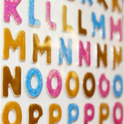 Cartela de Letras Adesivas - Puffy Letter Stickers - Colors