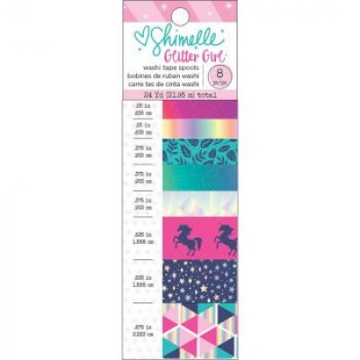 Washi Tape - Foil & Glitter Accents c/ 8 unidades - Shimelle Glitter Girl