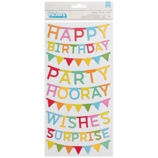 Cartela de Adesivos - Pebbles - Happy Hooray Collection - 18 Unidades