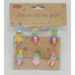 Kit Mini Pregadores Decorativos - Foguete 6 Un