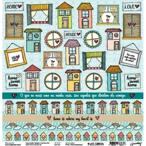 Papel #HomeSweetHome - Goodies - #Voltamos Colection - 30,5x30,5