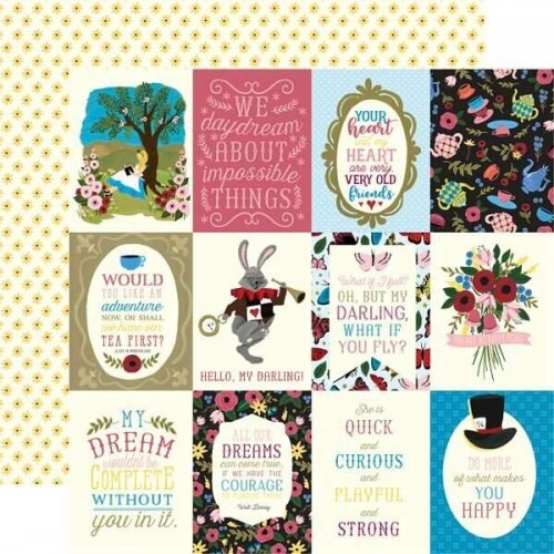 Papel 3X4 Journaling Cards - Alice in Wonderland 30,5x30,5 - Echo Park