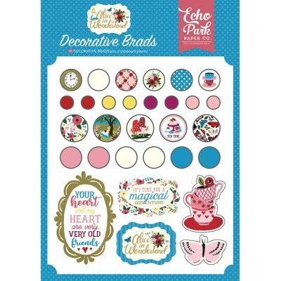 Apliques e Chipboard Decorative Brads 30 peças - Alice in Wonderland - Echo Park