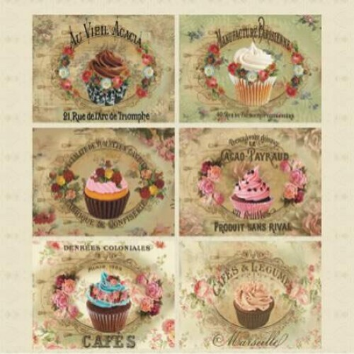 Papel Tags Cupcake - Katy Borges - 30,5x30,5
