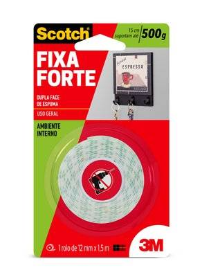 Fita Dupla Face 3M Scotch® Fixa Forte Espuma - Uso Interno - 12 mm x 1,5 m