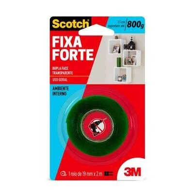 Fita Dupla Face 3M Scotch® Fixa Forte Transparente - Uso Interno