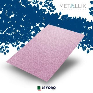 Papel Metallik - Arabesco Rosa A4 180g - 1 Folha