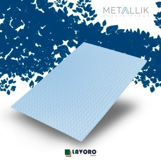 Papel Metallik para Scrapbook - Mini Chevron Azul 30,5 x 30,5 cm 180g - 1 Folha