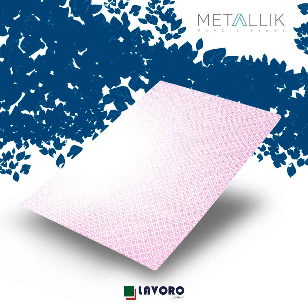 Papel Metallik para Scrapbook - Mini Arabesco Rosa 30,5 x 30,5 cm 180g - 1 Folha