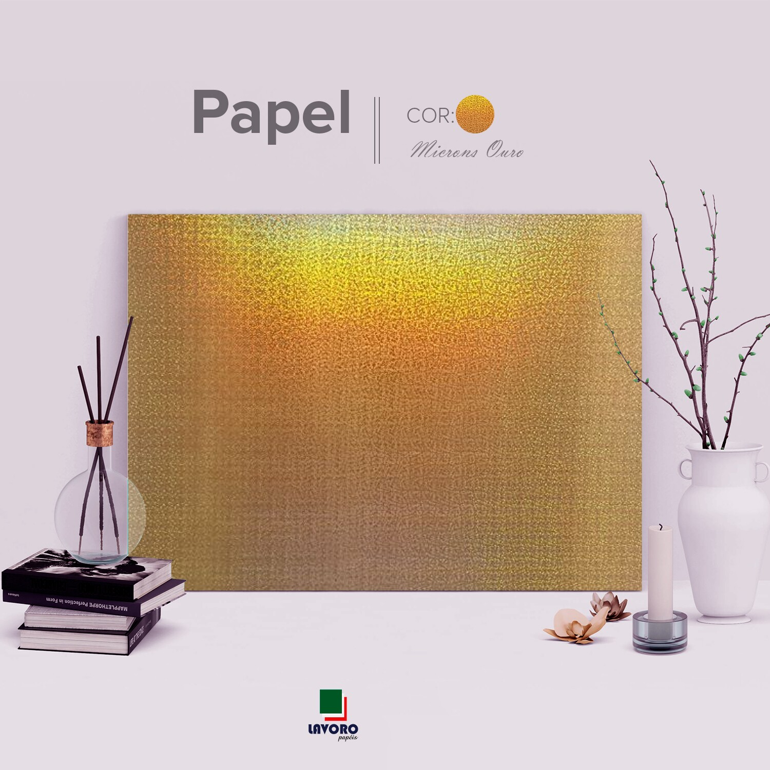 Papel Holográfico 180g 30,5x30,5 - Microns Ouro