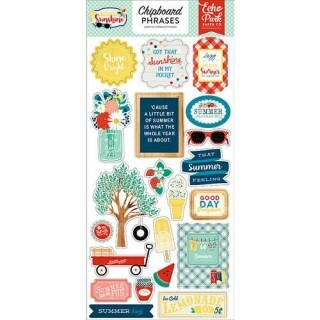 Cartela de Adesivos Chipboard - Good Day Sunshine Collection - Phrases