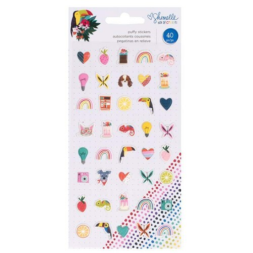 Cartela de Mini Puffy Adesivos - Box of Crayons Collection