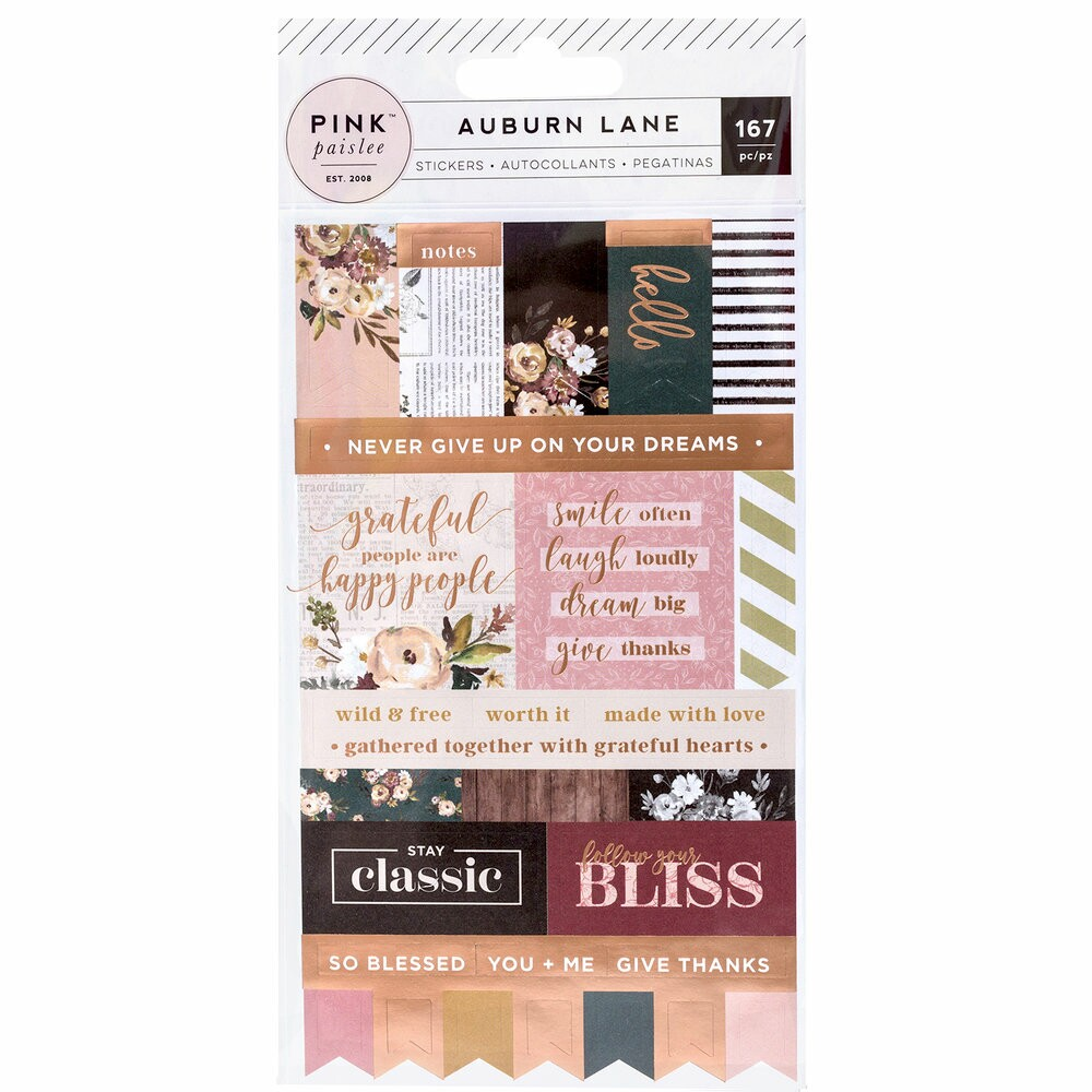 Cartela de Adesivos com Foil - Auburn Lane Collection - Labels