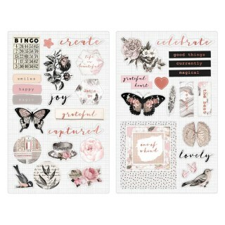 Cartela de Adesivos Chipboard - Amelia Rose Collection