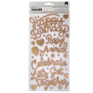 Happy Adesivo Espuma Dourado - Confetti Wishes Collection - American Crafts