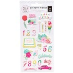 Cartela de Adesivos - Confetti Wishes Collection - Puffy Stickers com Relevo