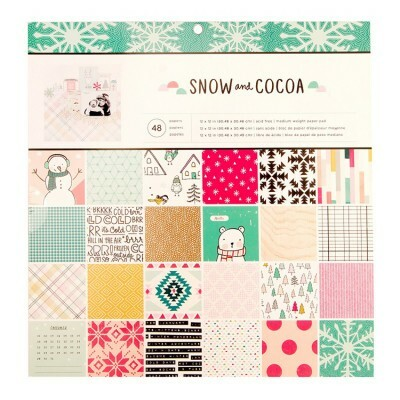 Kit de Papéis - Snow and Cocoa Collection - Crate Paper - c/ 48 folhas 30,5x30,5