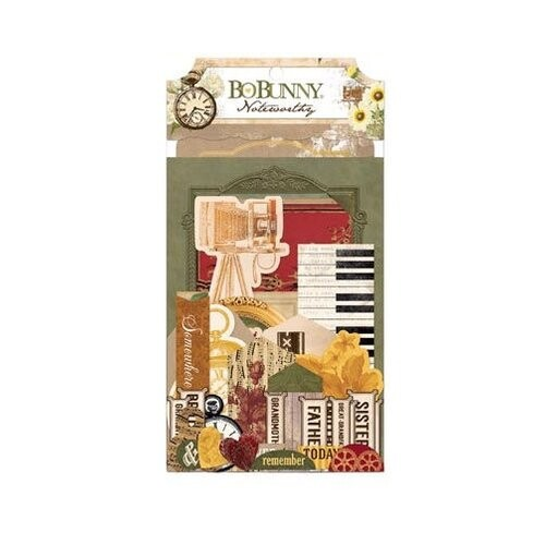 Apliques Chipboard - Noteworthy Heritage Collection - Bo Bunny 47 pcs