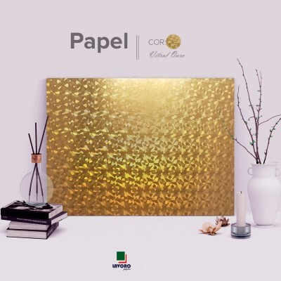 Papel Holográfico 180g A4 - Vitral Ouro