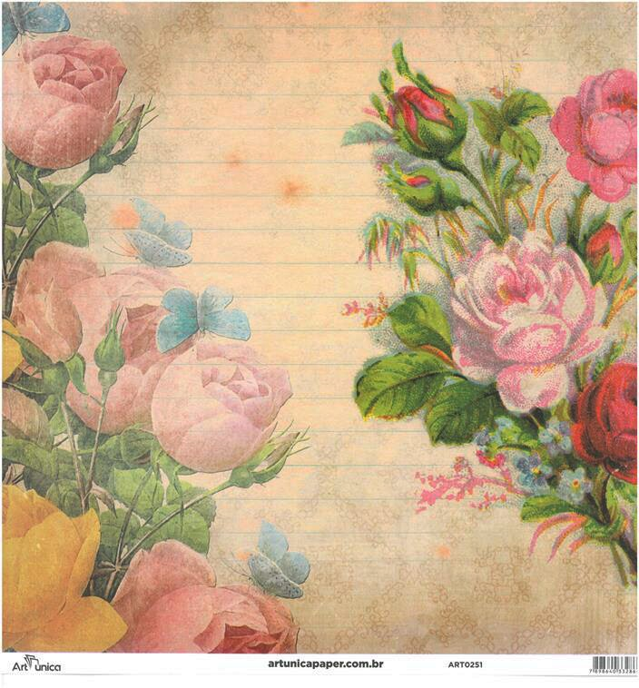 Papel Florais 4 - Art Unica - 30,5x30,5