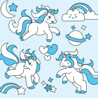 Papel Unicorn Blue - Art Unica - 30,5x30,5
